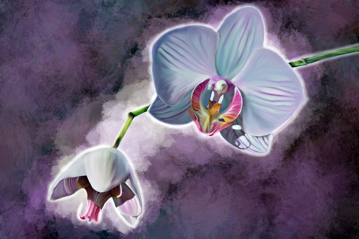 Purple Orchid Digitally Handpainted - Hunart Pixels