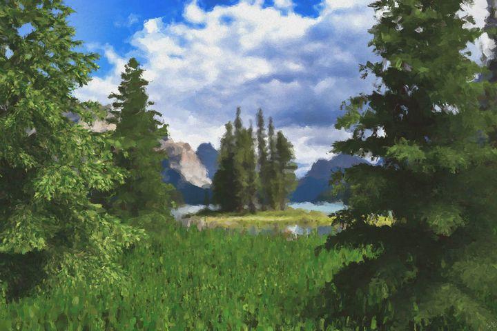 Between the Pines Digitally Handpain - Hunart Pixels