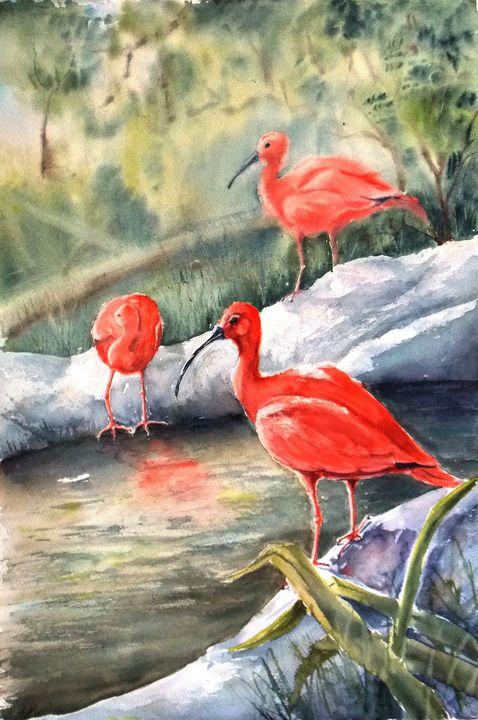 Red ibises - Nina Polunina
