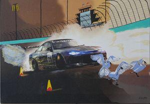 Racing Car with Geese - Peter Rowe
