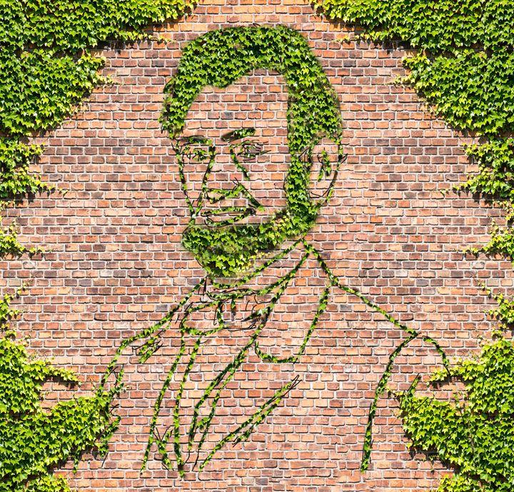 Brick Wall.  Overgrown Brick Wall an - Ed Mace