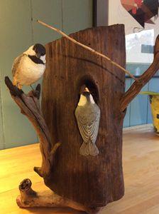 Chickadee Nest #2 - Bird of Wood Art