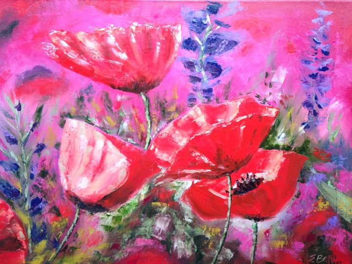Bright Pink and Red Popies 1 - Emma Bell Fine Art