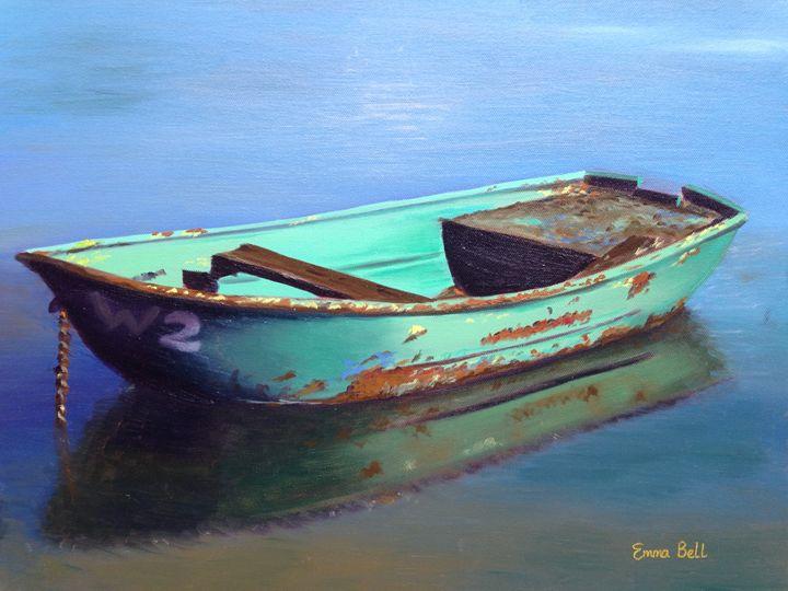 Old Green Boat - Emma Bell Fine Art