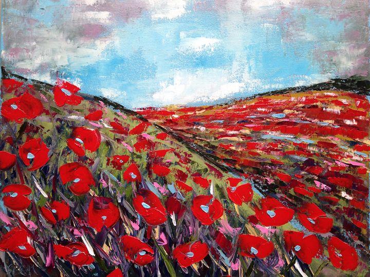 Poppies on a hill - Emma Bell Fine Art