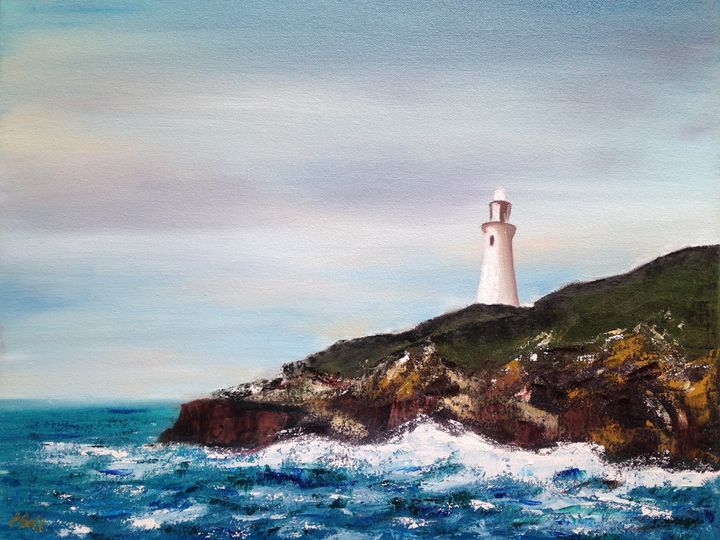 Lighthouse on the cliff - Emma Bell Fine Art