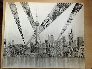 Toronto Skyline Sketch and Pattern