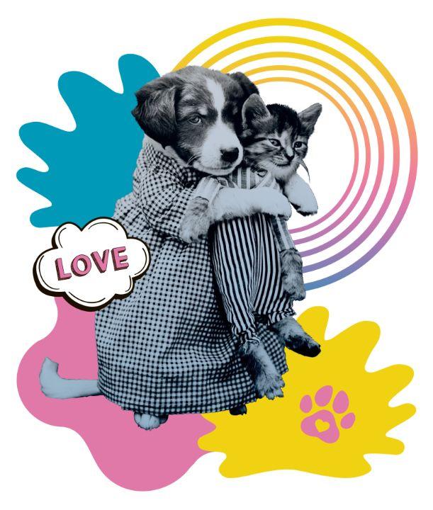 Funny puppy love kitten - BreezyBlueFish99