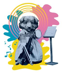 Funny puppy playing violoncello