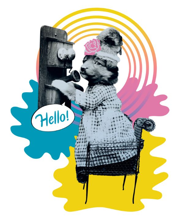 Funny puppy with a telephone - BreezyBlueFish99
