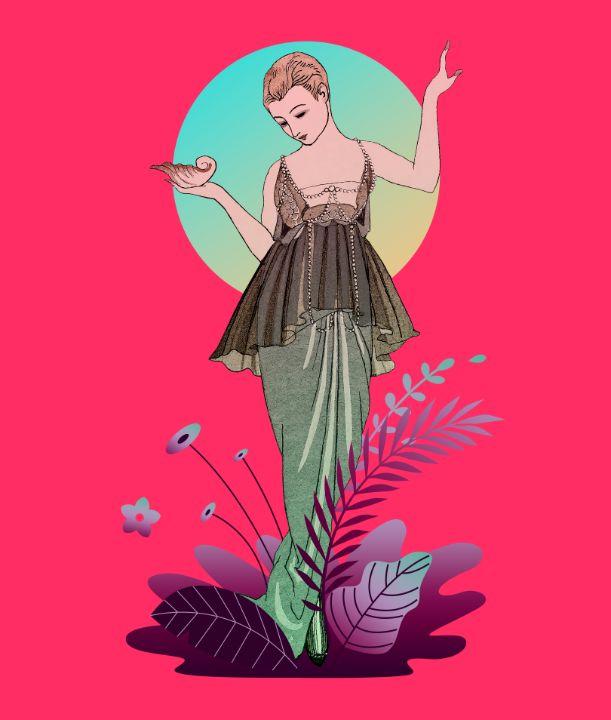 Lady French Fashion Illustration - BreezyBlueFish99