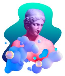 Sculpture of Daphne in trippy colour