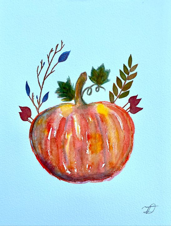 Pumpkin Watercolor 1 - T Art