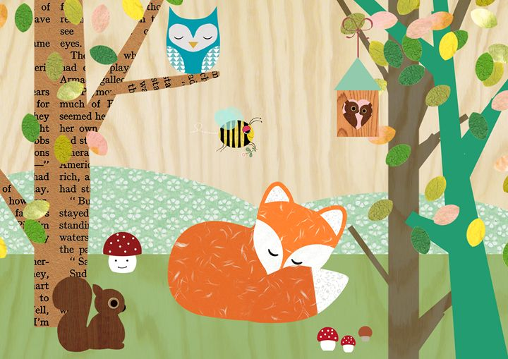 Cute Fox Collage wooden background - GreenNest