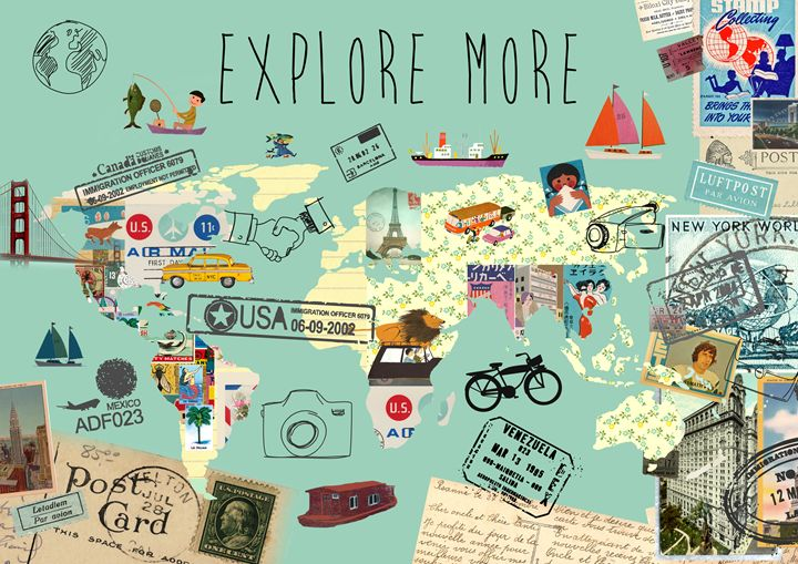 Explore More World Map Collage Greennest Paintings Prints Places Travel Other Places Travel Artpal