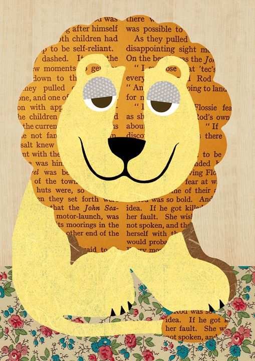 Lion Collage on wooden background - GreenNest