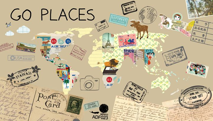 Go Places World Map Collage Greennest Paintings Prints Places Travel Other Places Travel Artpal