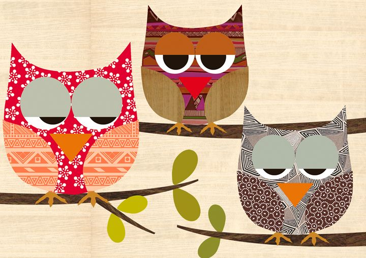 Owls Collage on wooden background - GreenNest