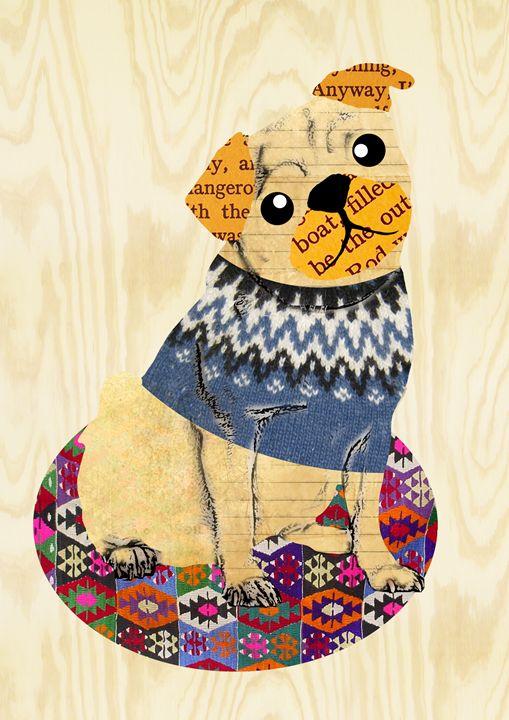 Cute Pug Collage - GreenNest