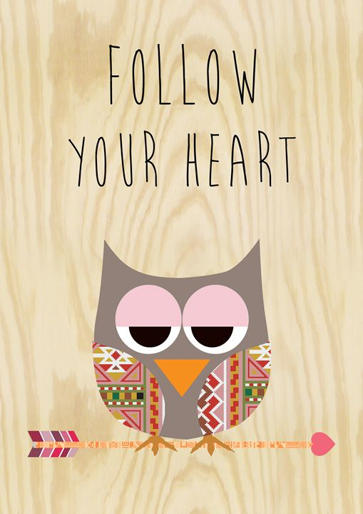 Follow your Heart Owl Collage - GreenNest