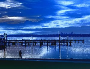 Boy at the Lake in the Blue Hour