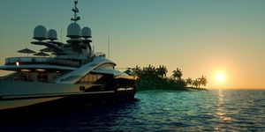 Luxury Super Yacht Ocean Sunset