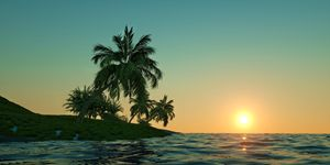 Tropical Island and Sunset