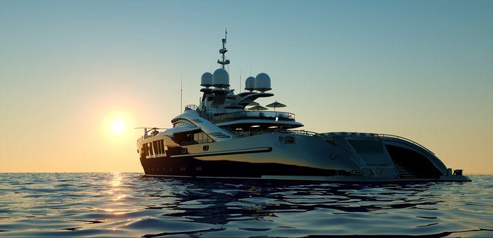 Big Super Yacht and Sunset - limbitech