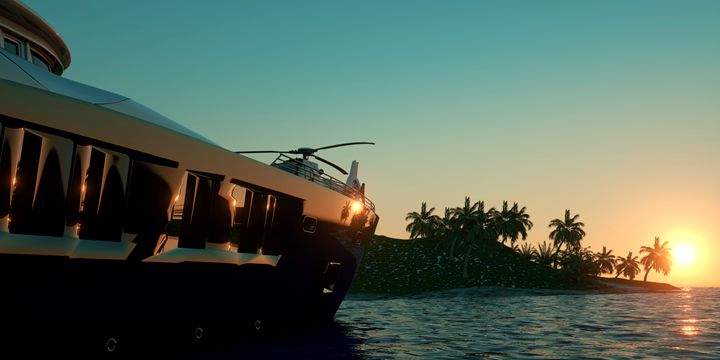 Super Yacht Tropical Island Sunset - limbitech