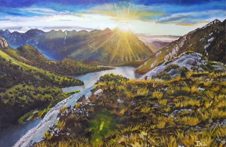 Sunset mountain acrylic painting - Ivan Marx