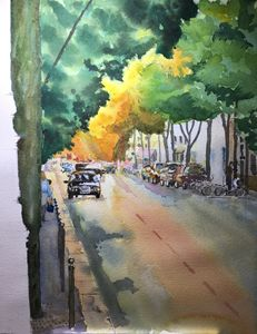 watercolor rue de la Convention Pari