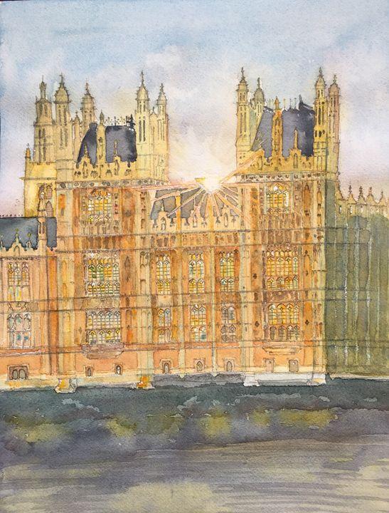 Watercolor of Westminster at sunset - Lala Rakotoarimanga Andrianjaka