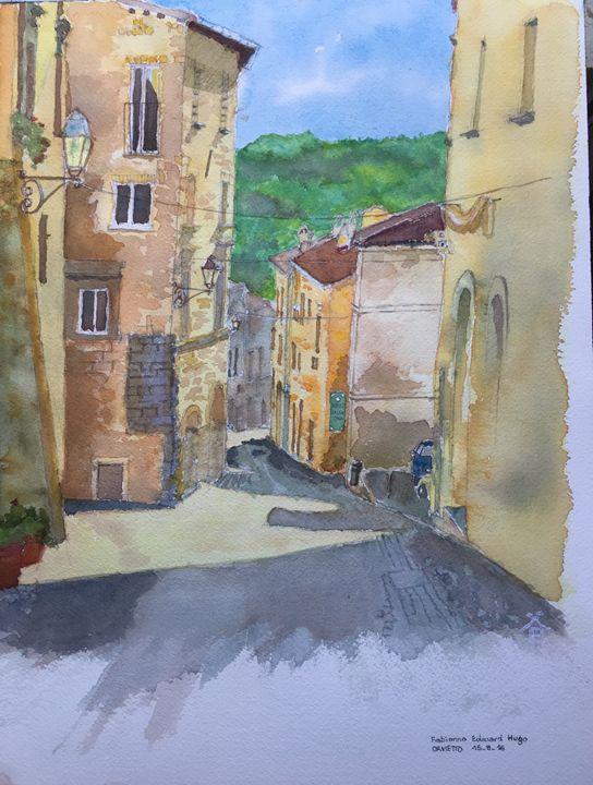 watercolor of a street in Orvietto - Lala Rakotoarimanga Andrianjaka