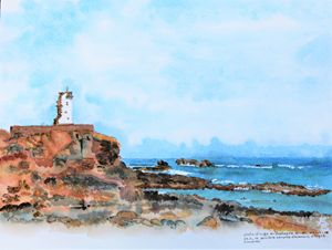 watercolor of a lighthouse Bretagne