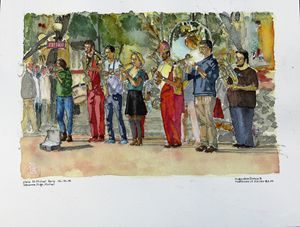 Aquarelle of Fanfare, Paris, France