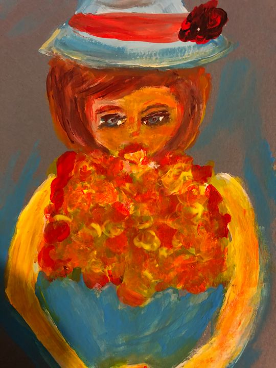 Girl with bouquet - Anoula's Art