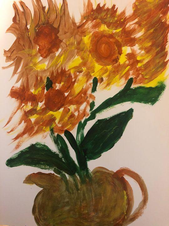 Vase With Sunflowers - Anoula's Art