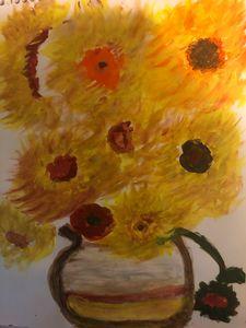 Autumn Sunflowers In A Vase