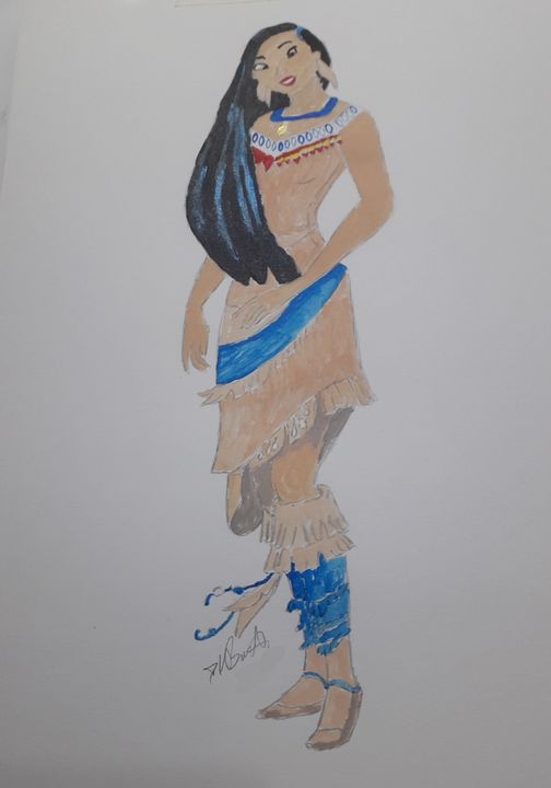 Indian Squaw - water colour - Dave's Art