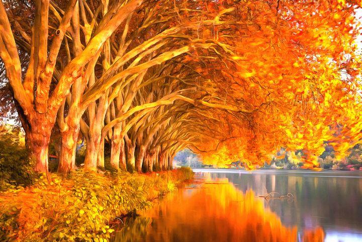 Autumn Oaks by W Joseph - Joseph Wall Art