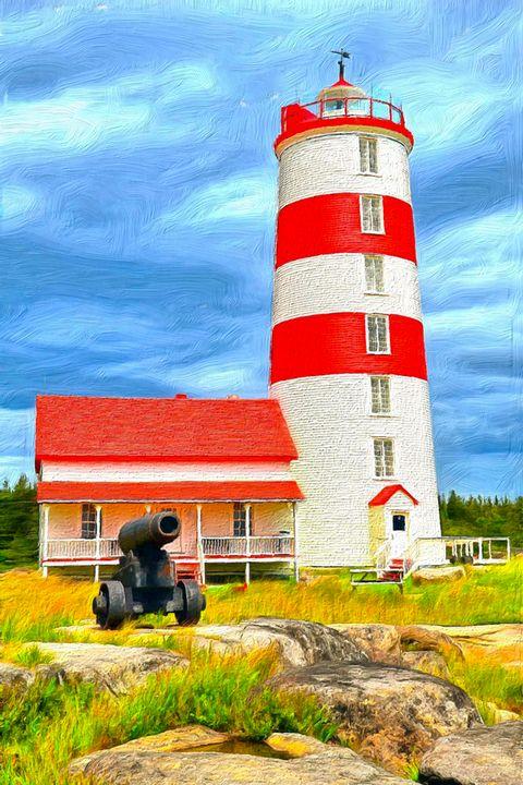 Red & White Lighthouse by W Joseph - Joseph Wall Art