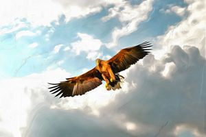 Golden Eagle n Clouds by W Joseph