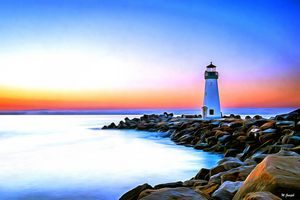 White & Green Lighthouse by W Joseph
