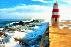 Red & White Lighthouse by W Joseph