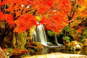 Autumn Waterfall by W Joseph