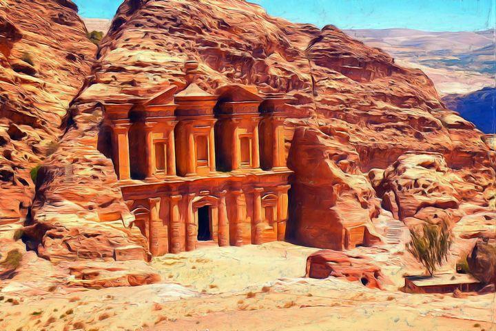 Petra Painting - Joseph Wall Art