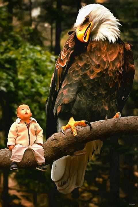 Toddler and the Eagle - Joseph Wall Art