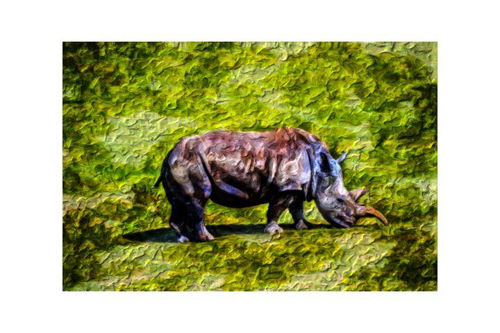 Psychedelic Rhino by W Joseph - Joseph Wall Art