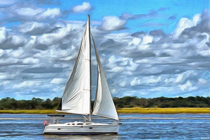 White Sail Boat - Joseph Wall Art