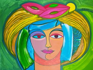 Woman with hat with fruits